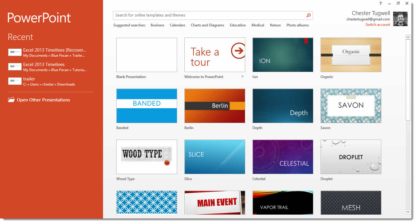 powerpoint 2013 start screen how to use it amp how to