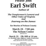 Datebook : Earl Swift, Author : Stories of Nelson County : March 28 & 29th