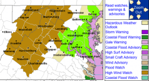 Beginning 8 AM Thursday : High Wind Watch In Areas Highlighted In Brown Shading