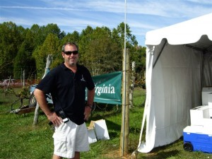 Jeff Stone of Wintergreen Winery from Nellysford takes a quick break at the festival.