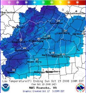 Freezing temperatures are possible this weekend especially in the mountains of Nelson and adjoining counties. Map courtesy of NOAA