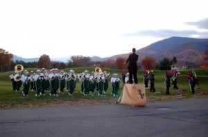 The NCHS Marching Govs Band at a sunset performance : Nellysford, Virginia : November 2008