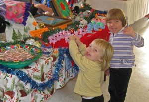Photo By Diana Garland : Youngsters check out crafts at this past weekend's Christmas Crafts Show at The Rockfish Valley FD.