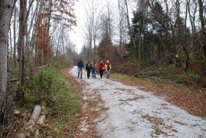 Popie Martin, VA Blue Ridge Railway Trail Foundation member, and Nelson Supervisors, Tommy Bruguiere and Connie Brennan along with others check out the new trail.