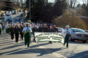 The Nelson County High School Marching Governors Band takes to the street in Sunday's Christmas Parade.