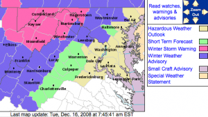 The NWS Winter Weather Advisory area highlighted in darker blue, as of Tuesday morning. Click for larger.