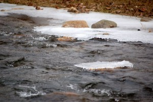 ©2009 NCL Magazine : Ice continues to form in the Rockfish River near Nellysford, Virginia as the second day of below freezing weather continues.