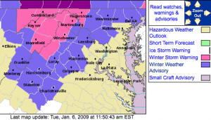 The various weather advisories covering Central Virginia as of 12 noon Tuesday, via NWS.