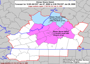 Winter potential impact via NWS Blacksburg, Virginia for counties immediately south and west as of late Sunday night.