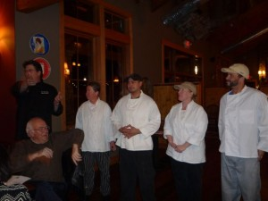 DBBC Executive Chef, Shawn Goodwin, (far left) along with the the chef support team talks about the menu.