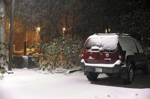Paul's lone SUV as the snow quietly falls Monday night.