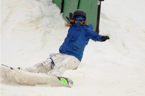 Photos By Paul Purpura : ©2009 NCL Magazine : A snowboarder takes to the slopes this past weekend as part of Rail Jam at Wintergreen Resort. Click on any image for larger view.