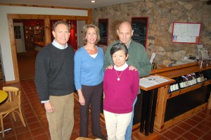 ©2009 NCL Magazine : (Left) New owners, Tony & Elizabeth Smith pose with Tom and Shinko Corpora who have owned the Afton Vineyard & Winery since 1988