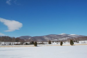 Beautiful snow capped mountains off in the distance as seen from the Rockfish Valley.