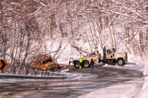 Photo By Heidi Crandall : ©2009 NCL Magazine : This VDOT truck got hung on Brents Mountain early Monday while trying to clear the roads.