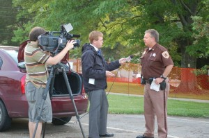 Nelson County Sheriff David Brooks is interviewed by an NBC-29 news crew Monday evening in Lovingston, Virginia
