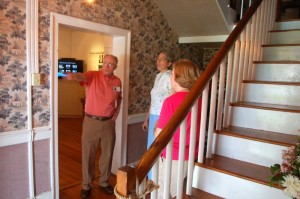 It was also the weekend for the annual Nelson Historical Home Tour. Oakland was one of the places on the trail this year. Above, Russ Reid chats with a couple on the tour.
