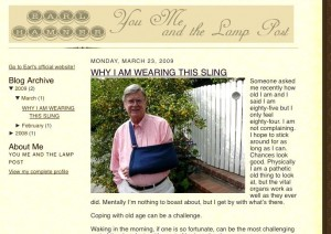 A blog entry from a month or so ago when Earl was talking about a minor injury he was recovering from.