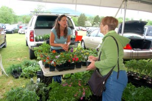 Joanie Saunders, co-owner of Saunders Landscapes, talks to a customer at Saturday's market.