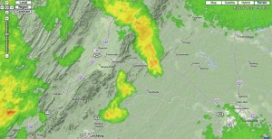 Thunderstorms moved into the Nelson area Friday night causing some power outages on the mountain at Wintergreen. Radar image courtesy of www.wunderground.com