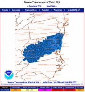 The Severe Thunderstorm Watch highlighted in blue. in effect until 8 PM EDT 6.3.09