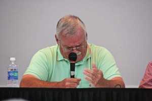Photo courtesy of Nelson County Museum of History : Bobby Purvis, a former telephone company worker, emotionally recalls the days following Hurricane Camille. He and others took part in a panel discussion on Camille.