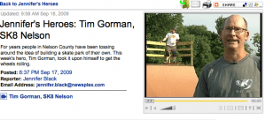 Screen Grab Courtesy of CBS-19 Charlottesville, VA : ©2009 Gray Television, Inc : Tim Gorman of Skate Nelson being interviewed this week.