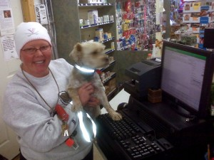 ©2009 www.nelsoncountylife.com : Cheryl Tompkins & Scruffy this past week @ Stoney Creek Pharmacy in Nellysford, Virginia