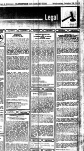 ©2009 Lynchburg News & Advance : A legal notice that ran in the October 28th edition of The Lynchburg News & Advance describing a proposed action by trustees on the 596 Martin Lane property which is Black Eagle Farm. Click to enlarge and look to right column.