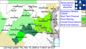 Via The National Weather Service : The Flood Watch Area highlighted in darker green. Click to enlarge view.