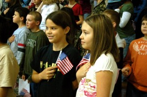 Students displayed flags in honor of veterans.