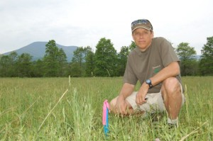 Steve Crandall, Devils Backbone owner and founder, in a May 2006 photo where survey flags marked an area that would one day be part of the brewery grounds.