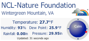 At 9:30 PM Tuesday night our Wintergreen Nature Foundation Weather Station showed a temp of just under 28° at the 3500 foot elevation. Click for larger view.