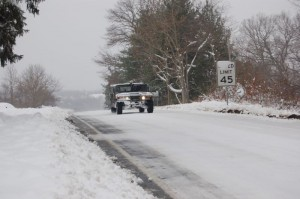 A National Guard Hummer was about the only way to get to some areas in Nelson County.