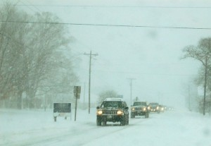 Photo By Tommy Stafford : Traffic lines up along Route 151 in Nellysford, Virginia Saturday afternoon.