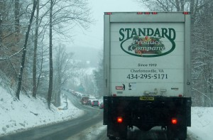 Photo By Yvette Stafford : ©2010 www.nelsoncountylife.com : Cars line up for about a mile on Route 151 south of Martins Store Monday afternoon when a quick 2 inches of snow fell across the county.