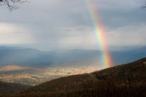 Photo By John Taylor : ©2010 www.nelsoncountylife.com : Thanks to John Taylor who grabbed this shot of a rainbow Monday afternoon over Nellysford in the Rockfish Valley as seen from Devils Knob at 3500 feet. Click to enlarge.