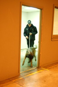 Deputy McDonald does a room to room search with Nicodemus inside the former American Yarn Plant.
