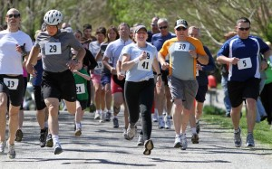 The mass start kicked off the run portion of the Piney River Mini Trialthlon sponsored by the Nelson County Parks and Recreation Department.