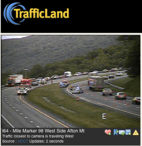 Another view looking toward the accident on I-64 Wednesday evening.