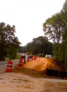 ©2010 www.nelsoncountylife.com : VDOT crews have been building up the shoulder this week on the east side of 151 at Greenfield Road (Route 635) Click to enlarge.