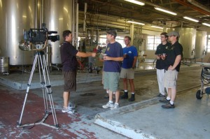 Mark Thompson, owner of Starr Hill Brewery in Crozet, talks to a reportter from CBS-19 about the special brew to be released in August at the Brew Ridge Trail Music Festival here in Nelson County.