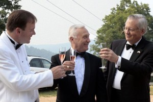 Austrian Ambassador to the US, Dr. Christian Prosl (center) shares a toast with WPA Artistic & Executive Director, Larry Alan Smith (left) and Don Burland, WPA President, just before the start of opening night.
