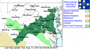 Via NWS: A Flood Watch goes into effect Wednesday morning through late Wed night for the areas shaded in green. Click image to enlarge.