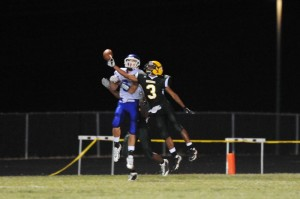 All photos by Paul Purpura : ©2010 www.nelsoncountylife.com : Jerome Glover (#3) a junior at NCHS goes mid air this past Friday night during the Govs first home game here in Nelson. Click any photo to enlarge.