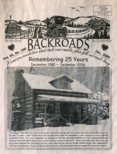 ©2006 Backroads : Lynn Coffey's final edition of Backroads that had a 25 year run here in the Blue Ridge Mountains of Nelson. Click to enlarge.