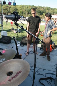 Rob Mezzanotte (right) talks with one of the sound engineers at The Festy.
