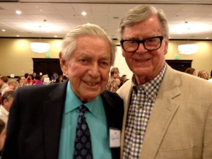 ©™2012 Nelson County Life : Photos By Woody Greenberg : Ralph Waite (L) who played John Walton stands next to Earl Hamner, Jr. (Nelson County, VA native from Schuyler) who founded and wrote the CBS television series The Waltons. Waite played Hamner's father in the television series based on his childhood experiences in Nelson County, VA.