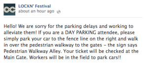 Late in the afternoon Lockn' organizers placed the following message and apology for the wait on their FB page.