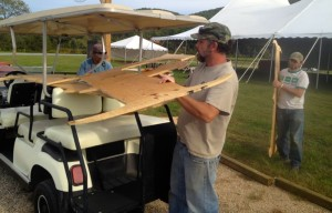 ©2013 Blue Ridge Life Magazine : Photos By Tommy Stafford : John Howard of Wintergreen, VA helps load a big F for Festy on a cart in preps for The Festy that kicks off this Friday - October 11, 2013
